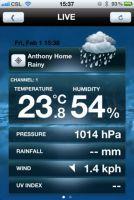 Aplikacja Anywhere Weather - iOS, ekran LIVE