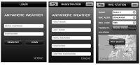 Aplikacja Anywhere Weather - rejestracja