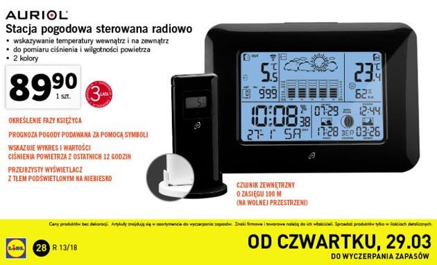 Stacja pogodowa AURIOL 4-LD4868 - od 29 marca w Lidlu za 89,90 zł